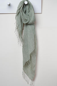 3 Visits To Cairo pure linen scarf in Sage