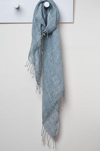 3 Visits To Cairo pure linen scarf in Titanium