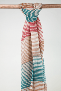 multi coloured caramel cotton striped scarf