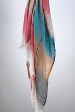 Load image into Gallery viewer, ombre cotton striped scarf teal coffee