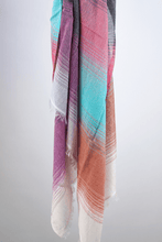 Load image into Gallery viewer, ombre cotton striped scarf aqua magenta