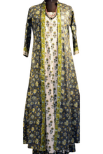Load image into Gallery viewer, Rajini Dress & Coat Set - Navy, Aqua & White
