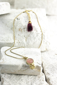 boho pendant gold necklace
