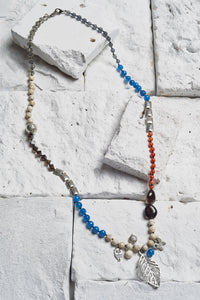 blue agate beaded necklace