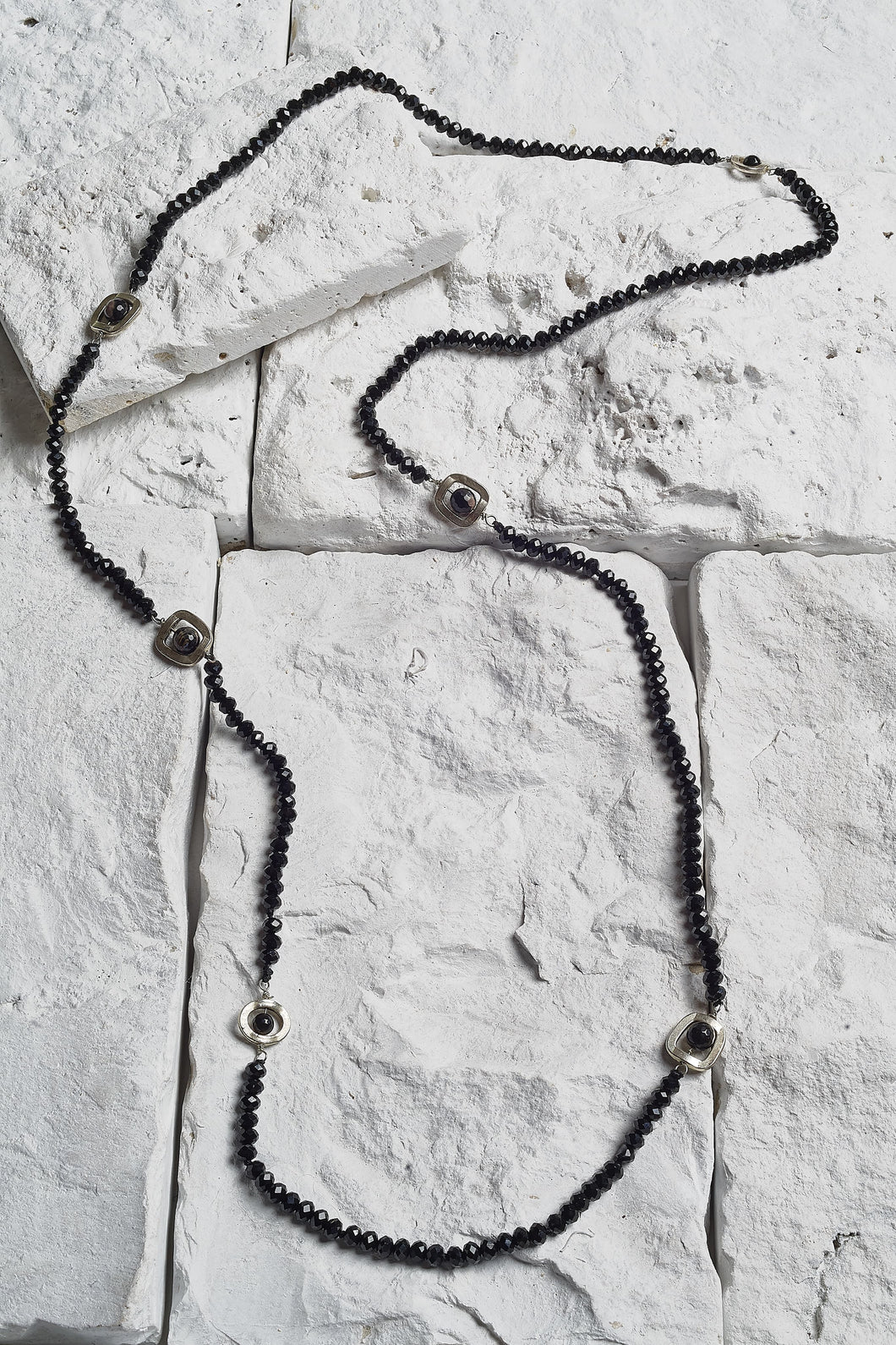 black agate bead necklace