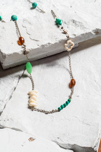Jennifer Necklace, Green Agate/White Coral.