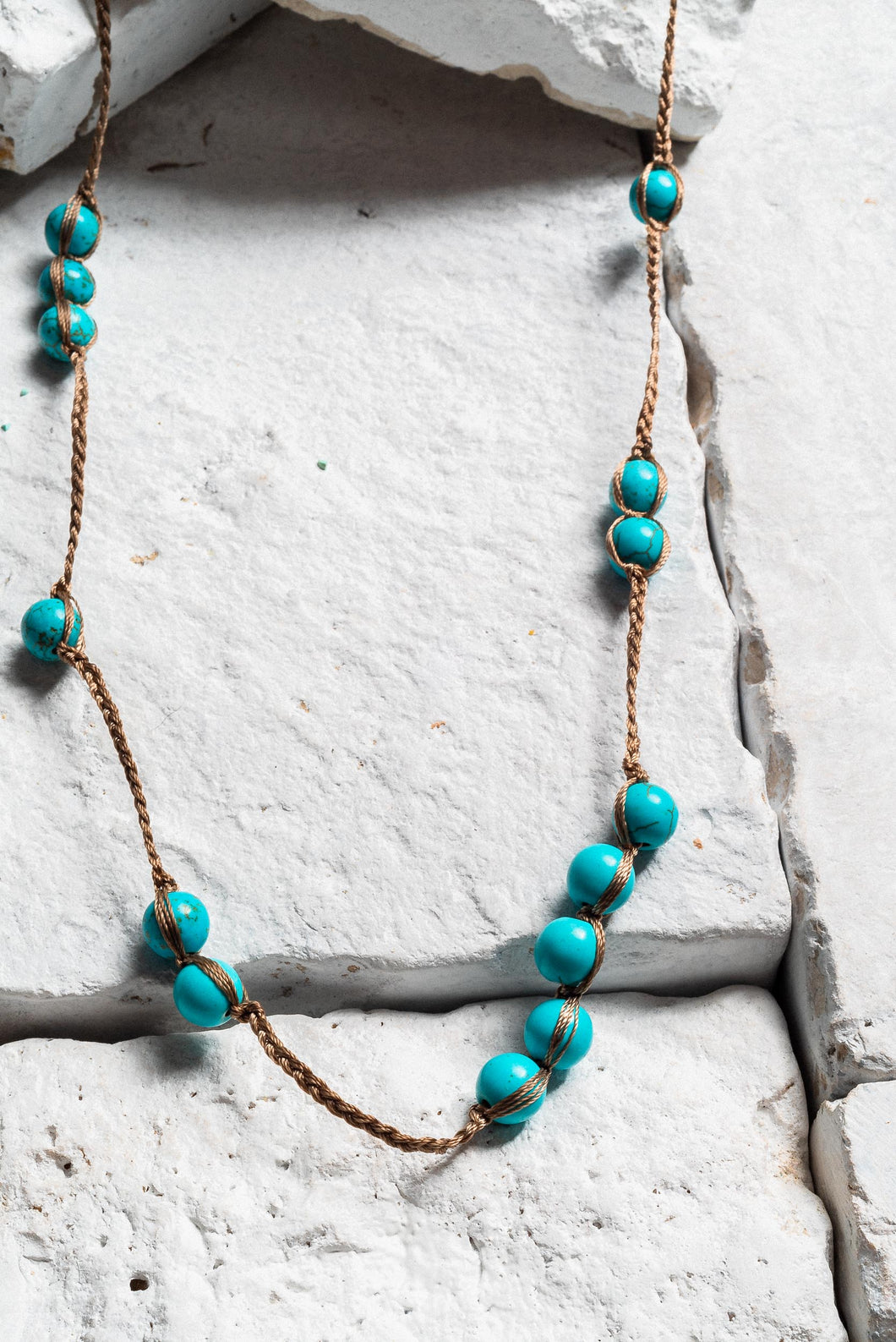 Turquoise Bead Rope Necklace