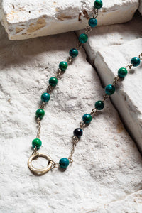 Open Circle Necklace, Green