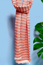 Load image into Gallery viewer, Neo cotton striped scraf strawberry chocolate