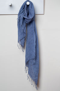 3 Visits To Cairo pure linen scarf in Blue Diamond