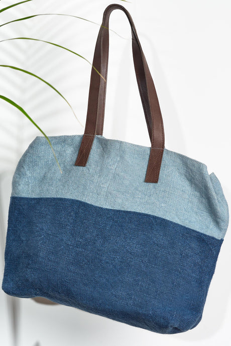 Double Denim Jute Shoulder Bag