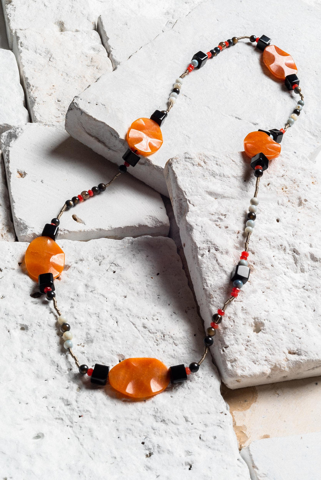 Black Onyx And Orange Necklace