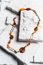 Load image into Gallery viewer, orange wooden bead necklace