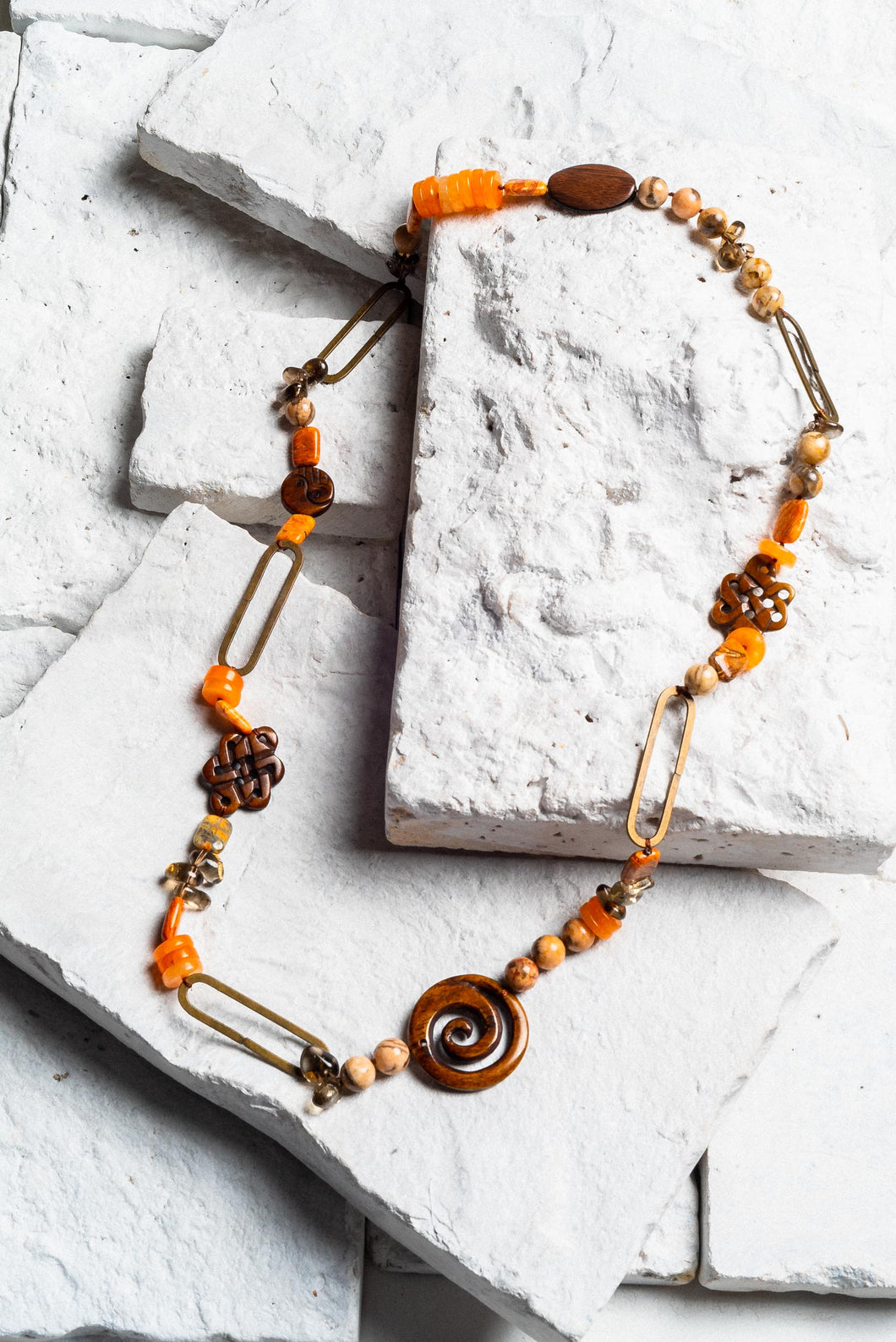 orange wooden bead necklace