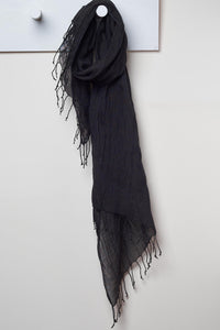 3 Visits To Cairo pure linen scarf in Black