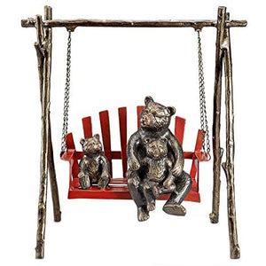 Bear & Cubs on Porch Swing Garden Sculpture