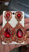 Red Victorian Crystal Clip On Chandelier Earrings