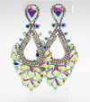 Large AB Crystal Statement Pageant Earrings on Silver