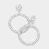 Large Rhinestone Crystal Pageant Prom Hoop Earrings | 400372