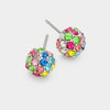 Little Girls Pastel Multi Colored Crystal Ball Stud Earrings | 158434