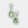 Little Girls Peridot Double Crystal Teardrop Clip On Earrings | 398734