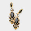 Victorian Black and Gold Crystal Double Oval Pageant Earrings | 413482