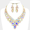 AB Crystal Oval Stone Statement Necklace on Gold | 380625