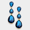Teal Crystal Triple Teardrop Earrings on Gold  | 306289