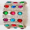 Oval Multi Colored Crystal Stretch Bracelet | 100561
