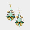 Green Floral Crystal Dangle Earrings | 390650