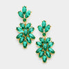 Emerald Crystal Oval Cluster Vine Pageant Earrings | 366852