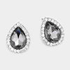Black Diamond Rhinestone Teardrop Stud Earrings | 326068