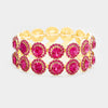 Fuchsia Crystal Bubble Stone Trim Stretch Bracelet | 362880