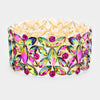Multi Color Crystal Teardrop Cluster Pageant Stretch Bracelet | 412406