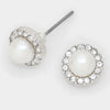 White Pearl Stud Earrings | 298337