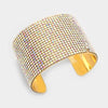 AB Crystal Cuff Pageant Bracelet on Gold | 308008