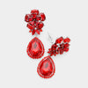 Small Red Crystal Clip On Dangle Earrings | 398737