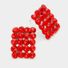 Red Rectangle Stud Earrings | Austrian Crystal | 70744
