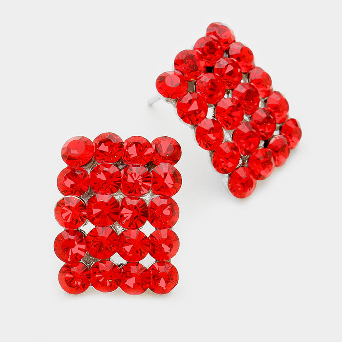 f40c15bfd Red Rectangle Stud Earrings   Austrian Crystal   70744 - lmbling