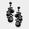 Black Crystal Teardrop Vine Earrings on Gold | 335446