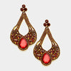 Large Chunky Cut Out Red Crystal Teardrop Earrings | Tammy Lee's | 368873