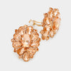 Peach Crystal Flower Clip On Earrings | 347069