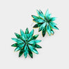 Emerald Crystal Flower Stud Earrings | 378411