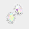 Oval AB Crystal Stud Earrings | 359483