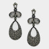 Little Girls Black Dangle Earrings on Gun Metal | 312424