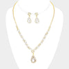 Crystal Oval Teardrop Prom Pageant Necklace Set on Gold | 386913