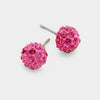 Little Girls Pink Crystal Ball Stud Earrings | 103864