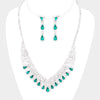 Emerald Crystal Teardrop Rhinestone Prom Pageant Necklace | 412048