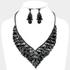 Black Crystal Cluster Vine Statement Evening & Pageant Necklace | 369162