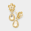 Small Gold Crystal Clip On Dangle Earrings | 415431